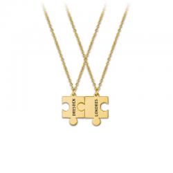 M00156 - Gargantillas Puzle doble dorado