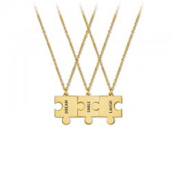 M00158 - Gargantillas Puzle triple dorado