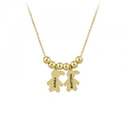 M00079 - Gargantilla 2 Niñas dorado