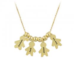 M00087 - Gargantilla 1 Niña 3 Niños dorado