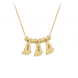 M00101 - Gargantilla 3 Pies de Bebé dorado