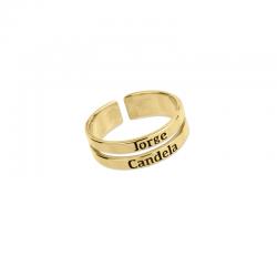 M00218 - Anillo Géminis doble dorado