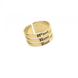 M00219 - Anillo Géminis triple dorado