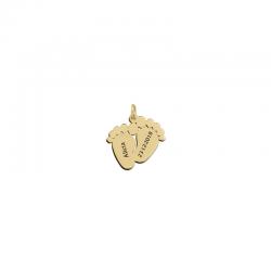 M00103 - Colgante Pie de Bebé doble dorado
